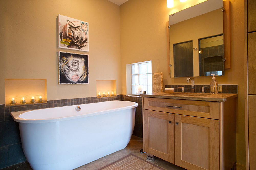Beau ... Modern Master Bathroom Remodel With Bellmont Cabinets In Natural Alder,  With Chrome Legs, ...