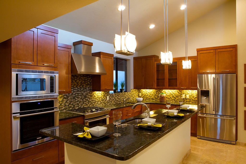 ... Contemporary Kitchen Remodel Showcasing Alder Kitchen Cabinets With A  Rich Autumn Stain, Granite Kitchen Countertops ...